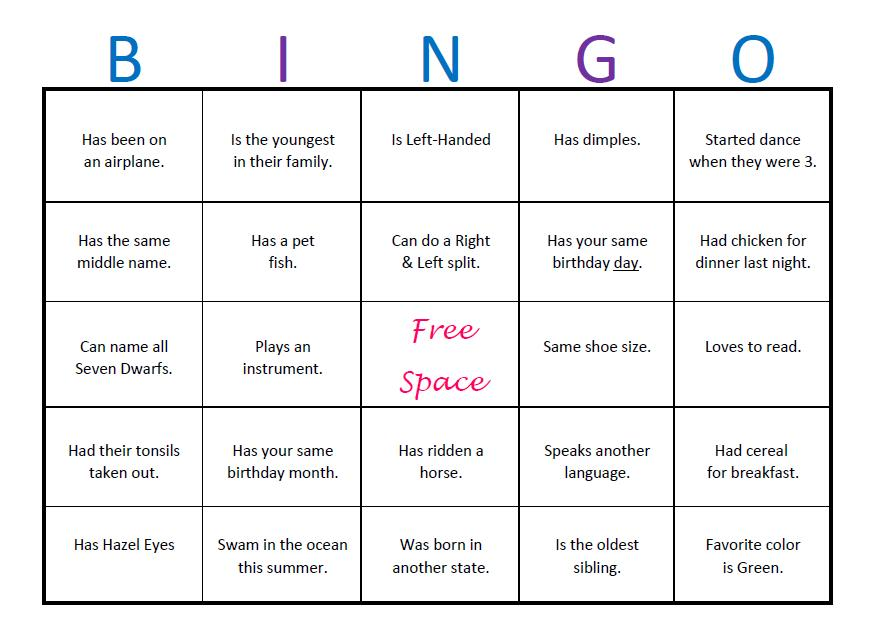 The gallery for icebreaker bingo college for Ice breaker bingo template